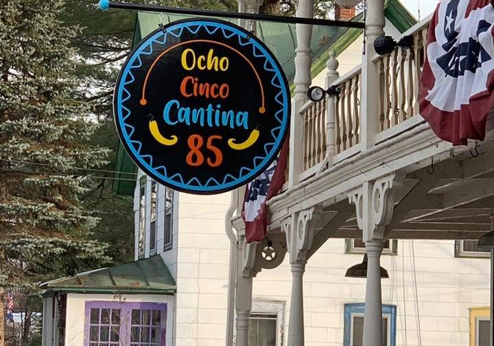 The sign in front of Ocho Cinco Cantina in Warrensburg NY.